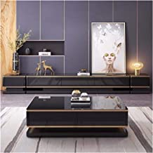 Light Luxury Coffee Table TV Cabinet Glass Coffee Table Combination Simple Modern Home Living Room Locker Annacboy (Color ...