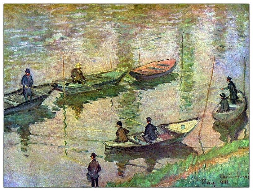ArtPlaza TW91754 Monet Claude - Fishermen on The Seine at Poissy II Decorative Panel 35.5x27.5 Inch Multicolored