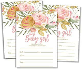 50 Pink Blush Sweet Baby Girl Shower Invitations and Envelopes (Large Size 5x7)