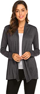 Womens Casual Lightweight Long Sleeve Cardigan Soft Drape Open Front Fall Dusters (S-3X)