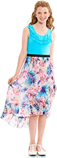 TRULY ME, Big Girls' Sleeveless Knit Top with Print Combo Maxi Dress, Size 7-16