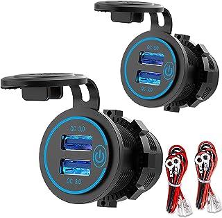 [2 Pack] 12V USB-Uitgang, Quick Charge 3.0 Dual USB-Stopcontact Met Aanraakschakelaar, Waterdichte 12V/24V USB-Pplader Voo...