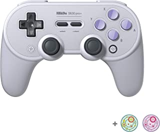 8Bitdo SN30 Pro+ Bluetooth Controller for Switch, PC, macOS, Android, Steam and Raspberry Pi with Thumb Stick Grips Cap (S...