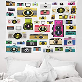 ABAKUHAUS Vintage Tapiz de Pared y Cubrecama Suave Cámaras Fotográficas Vintage Antiguas Pasatiempo Artístico Tema Estudio Diseño Lavable Colores No Destiñen 150 x 110 cm Multicolor