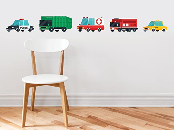 Transports Fabric Wall Decal Set Of 5 Emergency Rescue Vehicles And City Trucks Transportation Wall Decor With Police Car Garbage Truck Ambulance Fire Truck And Taxi Non Toxic And Reusable