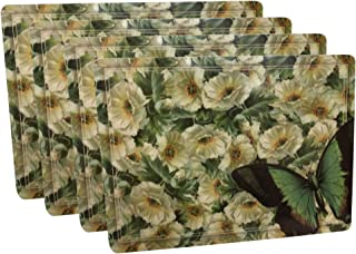 Rainy Dog Hard Placemats Cork Backed Hard Fiberboard Hardboard Mat Nature Scene Botanical Flower and Butterfly Board Placemat Kitchen for Dining Place Table Mats Set of 4 Large Thick 11.8 by 15.7
