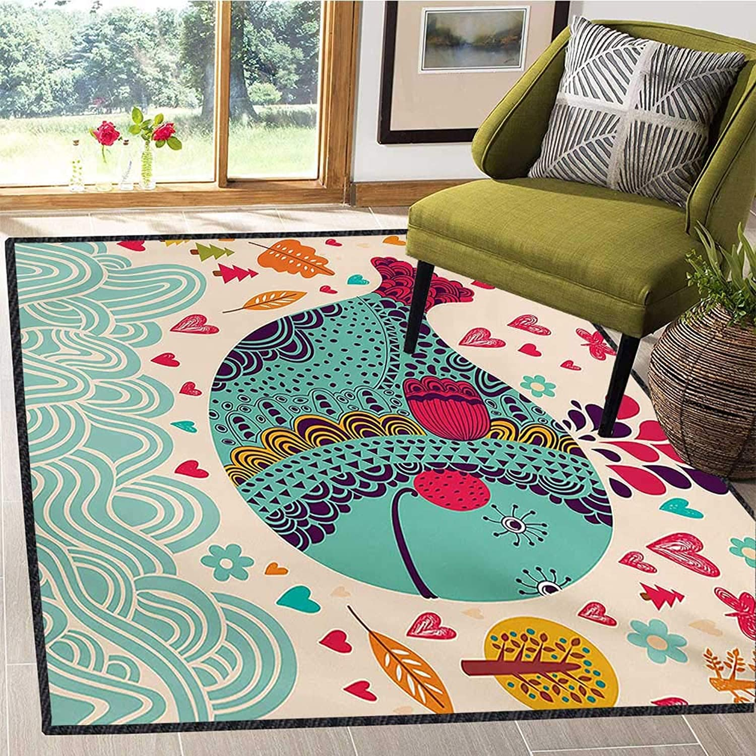 Whale, Area Rug Door Mat, colorful Ornamental Designed Big Whale with Waves Plants and Hearts Around Print, Door Mat Increase 4x5 Ft Multi colord