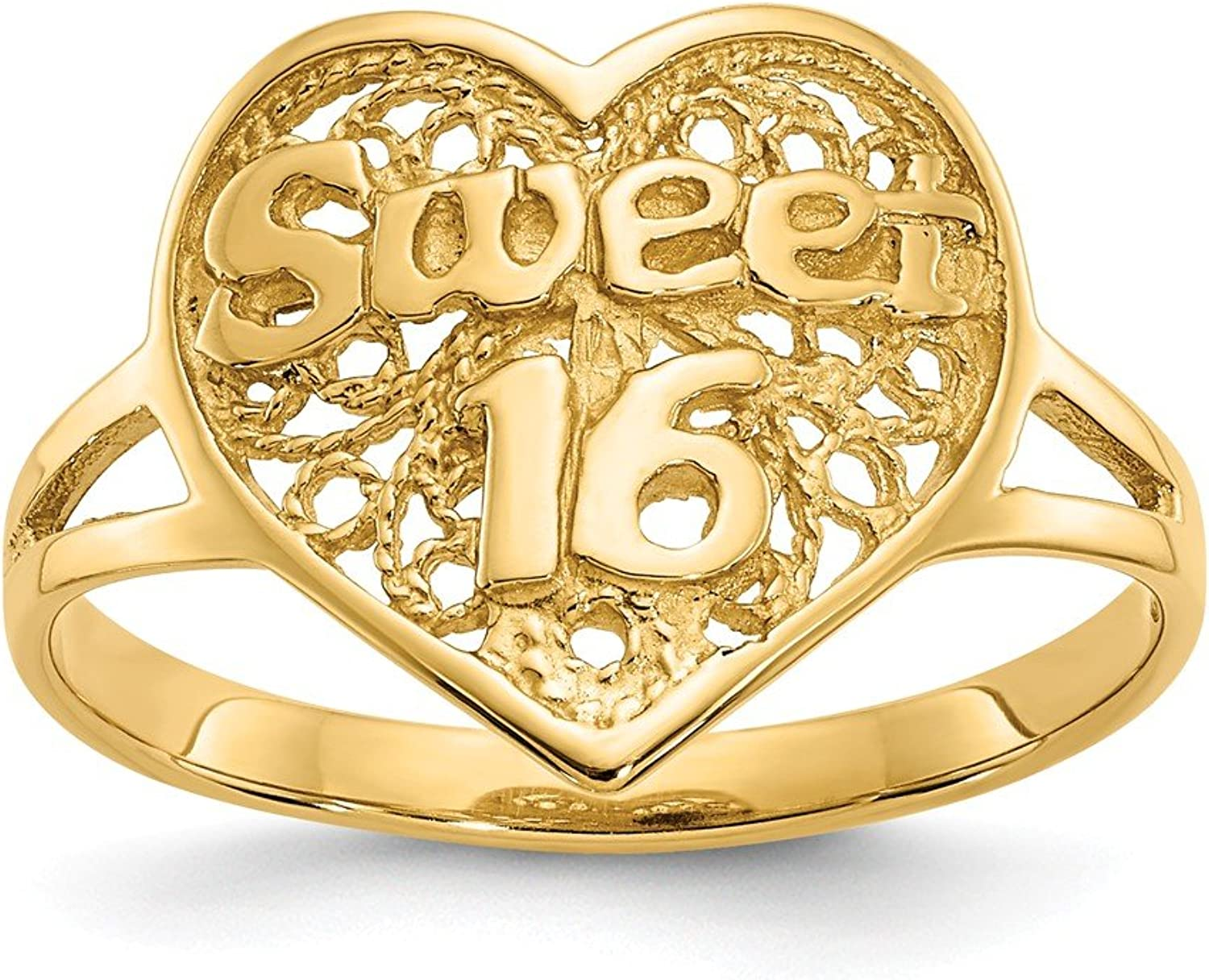 14k Yellow gold Sweet 16 Heart Ring for Women Size 6