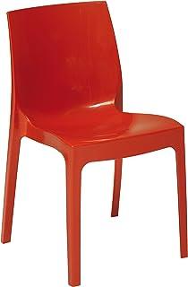 Lote de 2 Sillas Mod. Cat - Color Rojo Silla realizada en HIGHMOPP sólido. Inyección de Polipropileno Brillante reciclable.