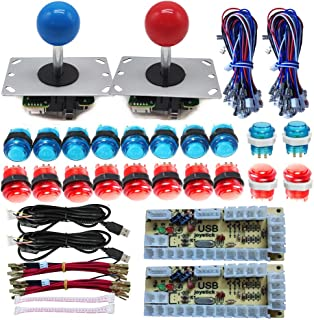 Tongmisi Arcade DIY LED Kit Zero Delay USB Encoder to PC Arcade Games 8 Way Joystick + 5V LED Illuminated Arcade Push Buttons (Red Blue)