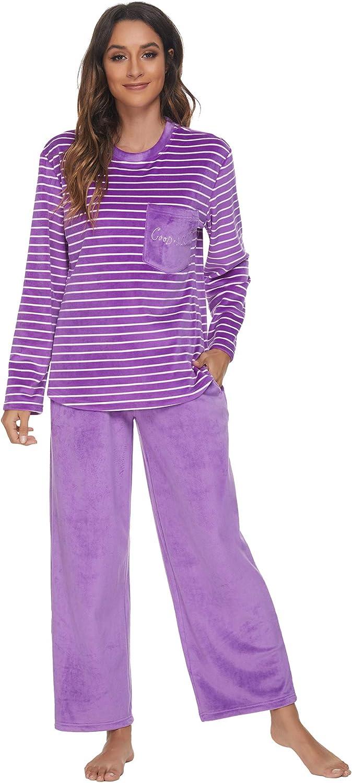 U2SKIIN Womens OFFer Regular discount Fleece Pajama Sets for Women Striped Sof Pajamas