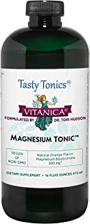 Vitanica Magnesium Tonic, Liquid Magnesium Bisglycinate Chelate 300 mg with Vitamin B6, Dr Formulated Supplement, Orange F...