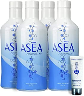 ASEA Water Dietary Supplement with Redox Signaling Molecules,Pack of 4 Bottles, with 1 FREE 10 mL Renu 28 Revitalizing Redox Gel
