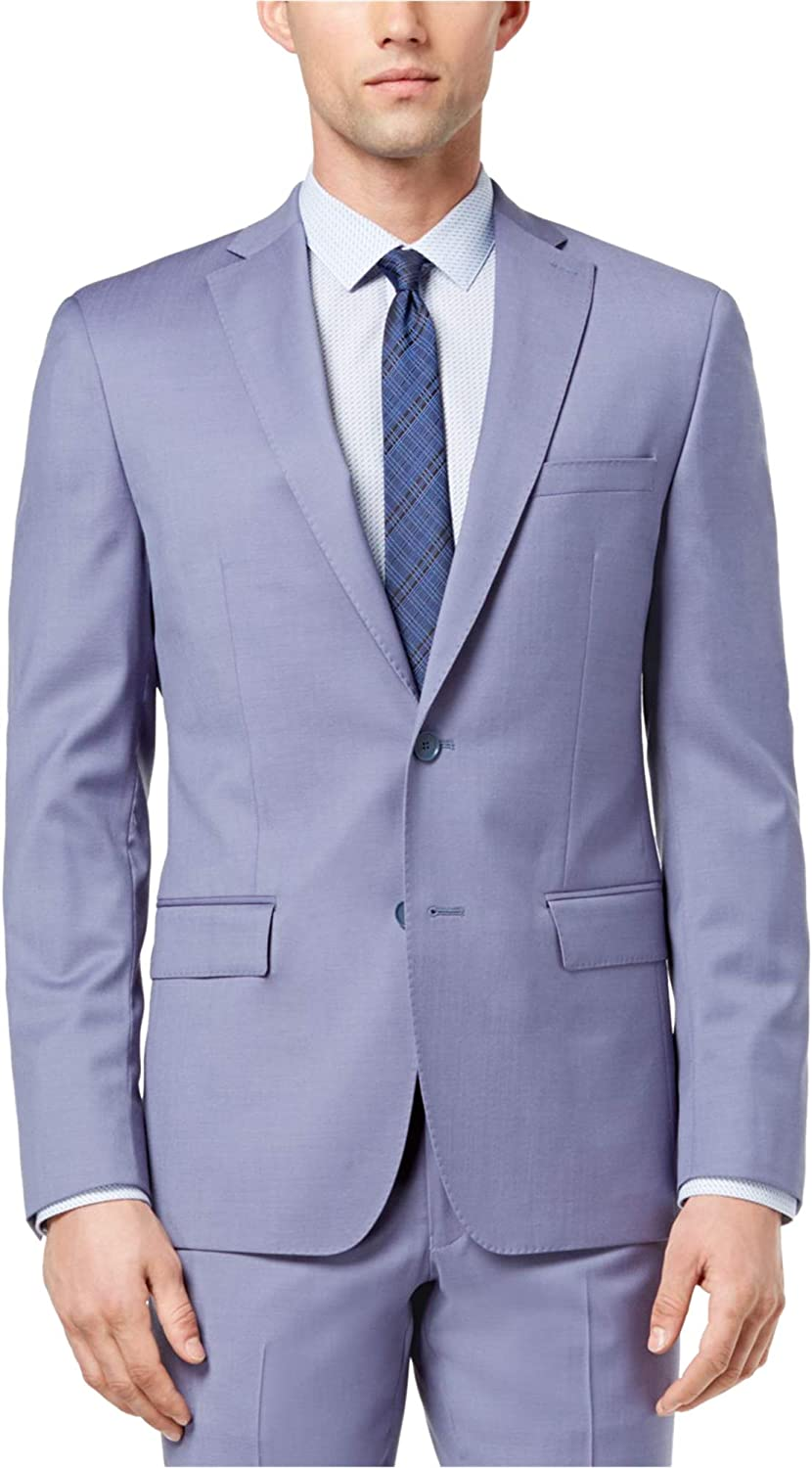 DKNY Mens Solid Color Two Button Blazer Jacket, Blue, 42 Long