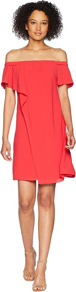 Gauzy Crepe Off the Shoulder Draped Dress