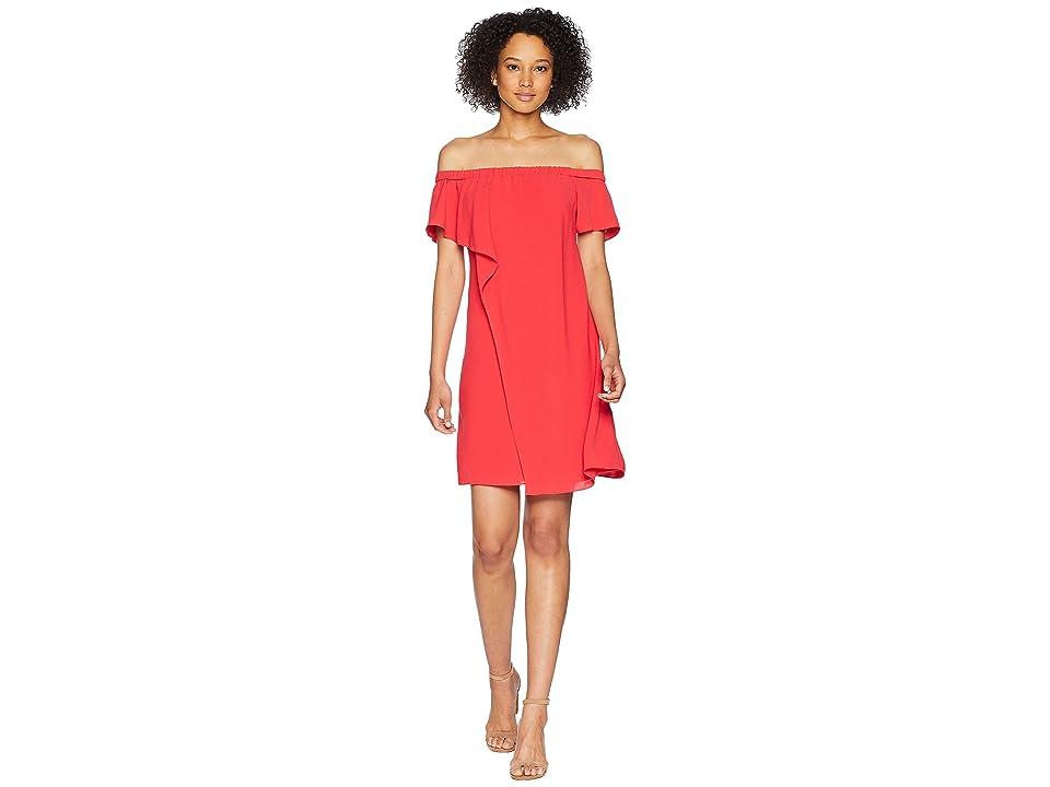 Adrianna Papell Gauzy Crepe Off the Shoulder Draped Dress (Geranium) Women