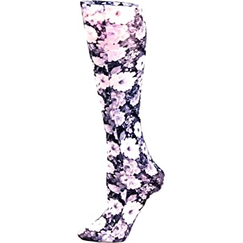 Celeste Stein Therapeutic Compression Socks, Noir Roses, 15-20 mmHg, Moderate, Ant Floral, 0.6 Ounces