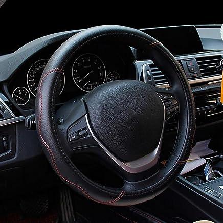 Auto Lenkradbezug Mikrofaser Leder Kohlenstoff Muster Klassische Massage Licht Splei/ßen Schwarz