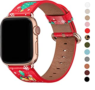 WFEAGL Compatible with iWatch Band 38mm 40mm 42mm 44mm, Top Grain Leather Band Replacement Strap for iWatch Series 5,Series 4,Series 3,Series 2,Series 1(Red Christmas Band+Rose Gold Adapter,42mm 44mm)