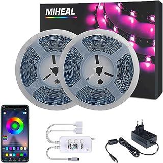 Miwatt 2X10M Led strip, Bluetooth Handy APP verbindungscontroller,Musik Synchronisation LED Lichtband Leiste, für Zuhause,...