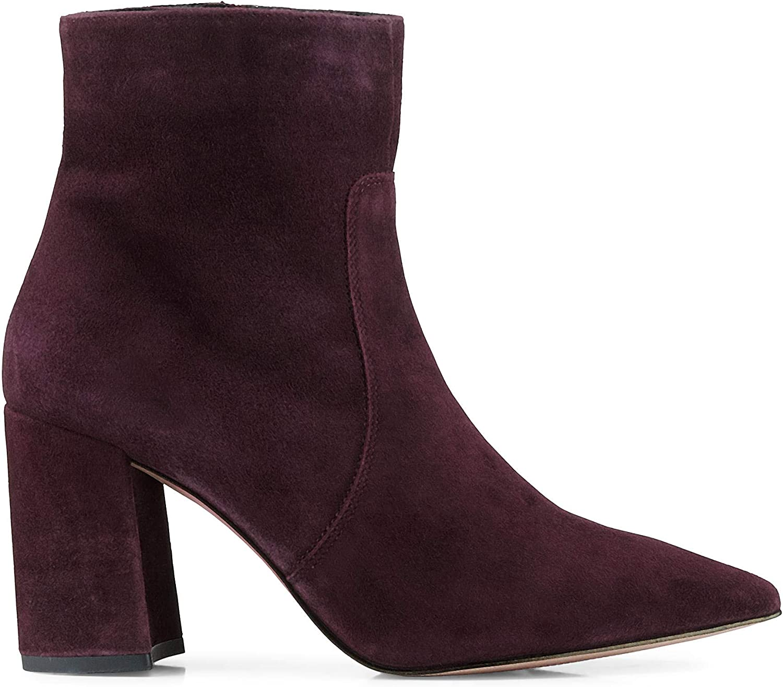 Damen Damen Klassik-Stiefelette aus Leder, Ankle-Stiefel in Dunkel-Braun mit rutschhemmender Lauf-Sohle