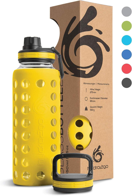Hydro2Go® Botella de Vidrio con Tapa de Silicona 950 ml - Apto para lavavajillas | 2 Tapas Intercambiables | 100% Impermeable