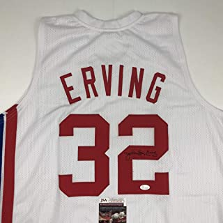 6023cd47 Autographed/Signed Julius Erving Dr. J New York ABA White Basketball Jersey  JSA COA