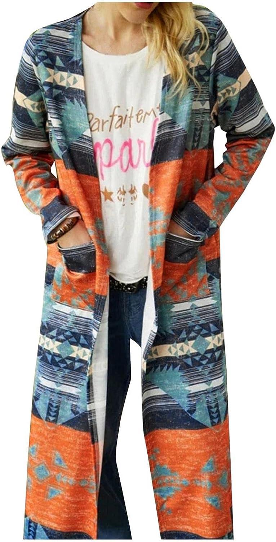 Womens Open Front Knit Cardigan Long Long Sleeve Oversized Sweater Chunky Waffle Cable Boho Pockets Coat