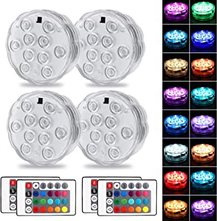 Oaksvm Submersible Led Lights with Remote, Waterproof Multi Color Led Lights Battery Operated, Underwater Led Pool Lights, Decoration Lights for Aquarium Vase Pond Wedding Halloween Party. (4 Pack)