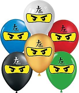 "VISION Licensed Ninja 12"" Party Supplies Balloons 36 Pcs, Gold White Black Red Blue Green Ninja Balloons Premium Latex for..."