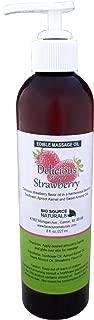 Edible Delicious Strawberry Massage Oil 8 fl. oz. Pump - All Natural Plant Oils