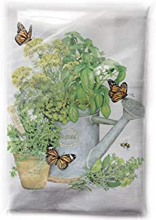 Mary Lake-Thompson Herbs in Watering Can Cotton Flour Sack Dish Towel