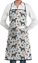 Eco-Friendly Schnauzer Apron with Pockets Locked for Cooking Baking Crafting Gardening BBQ (20.5 X 28.3 Inches)
