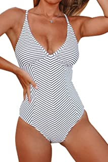 CUPSHE Women's Simple Living Stripe One-Piece Swimsuit Bathing Suit