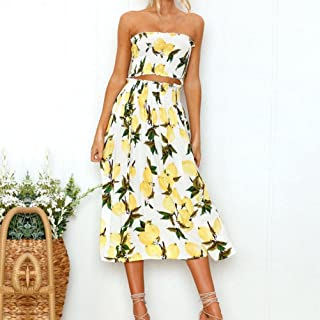 fdb8fcf32938 Gyoume Women Long Dress Off Shoulder Lemon Printing Evening Party Dress  Summer Vest Shirt Tops Blouse