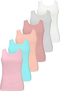 LOREZA ® 6 Piezas de Camisetas de algodón para niñas Ropa Interior de Camiseta sin Mangas 92-158 - 2-13 años
