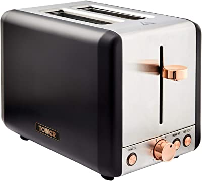 Tower T20036RG Cavaletto 2 Slice Toaster, 6 Browning Settings and Removable Crumb Tray, Stainless Steel, 850 W, Rose Gold and Black