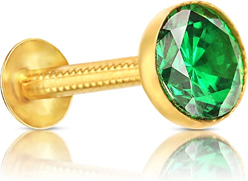 Gehlot Round Cup Shape Green Diamond 14K Pure Yellow Gold Nose Pins Studs Jewellery For Women And Girl Green Cup Round