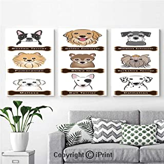 Canvas Prints Modern Art Framed Wall Mural Various Type of Dogs Nameplate Boston Terrier domestic animal Faithful Loyal for Home Decor 3 Panels ,Wall Decorations for Living Room Bedroom Dining Room B