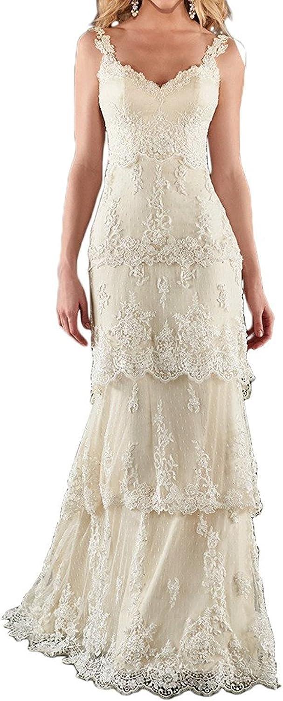 Weiterstar Women's Lace Applique Layered Open Back ALine Bridal Wedding Dress