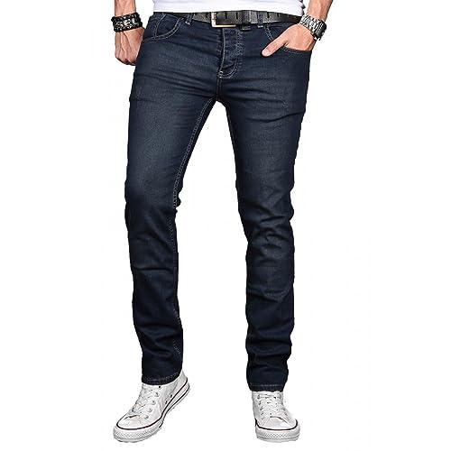 Herren Tapered Fit Jeans eng Slim Fit Denim hellblau stonewashed Röhre