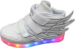 [Maybest] キッズボーイズガールズLED Light UpスニーカーAthletic Wings High ShoeダンスBoot