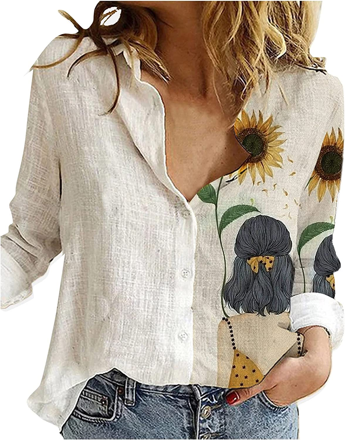 sold out Eoailr Buttons Shirts for Reservation Women Casual Neck V Half Tu Tops Print