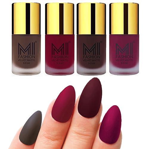 MI Fashion Nail Paints Combo Coffee, Mauve, Wine, Magenta Unique Matte Nail Polish Set of 4 Pcs 9.9ml each