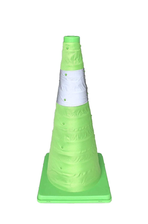 思い出す涙有力者伸縮式カラーコーン 【2個セット】 高さ62cm グリーン 折りたたみ三角コーン