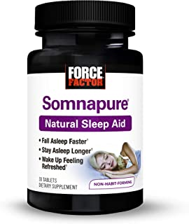 Somnapure Natural Sleep Aid with Melatonin, Valerian, and Chamomile, Non-Habit-Forming Sleeping Pill, Fall Asleep and Stay...