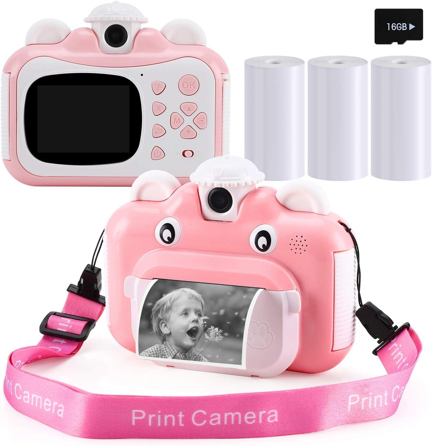 Barchrons Instant Print Digital Kids Camera 1080P Rechargeable K