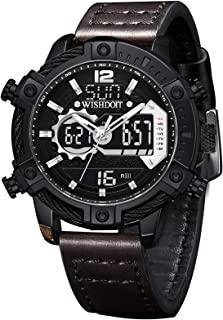 WISHDOIT Men's Analog Digital LED Screen 30m Waterproof Outdoor Sports Watch Chronograph Military Multi-Function Leisure Dual-Screen Display 12h / 24h Stopwatch Calendar Alarm Clock Fashion Watch