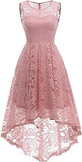 abendkleid rosa MuaDress Elegante Abendkleider Cocktailkleider Damenkleider Brautjungfernkleider aus Spitzen Knielange Rockabilly Ballkleid Rund Ausschnitt