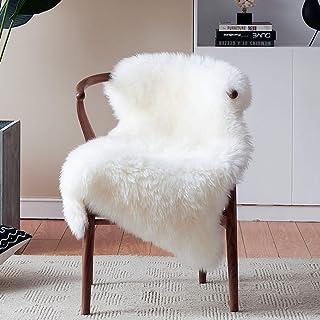 Duduta White Sheepskin Bedside Rugs 2x3 ft, Fluffy Faux Fur Chair Seat Cover Shaggy Throw Rugs